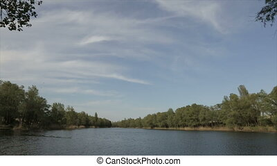 Lake in the daytime, wide angle - Waves on the lake,full hd...