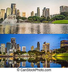 Lake in the evening, near by Twin Towers with city on background. Kuala Lumpur, Malaysia. Morning afternoon Evening Night. Four time of day