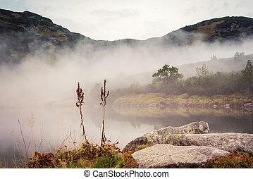 lake in the fog at Tatras
