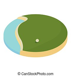 lake in the golf course icon, cartoon style