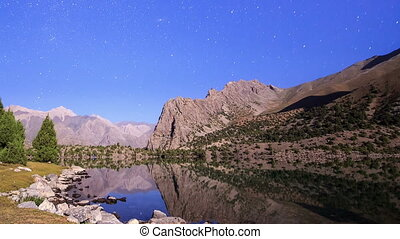 Lake in the moonlight. TimeLapse. Pamir, Tajikistan
