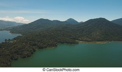 Lake in the mountains, island Bali,Indonesia. - Aerial view...
