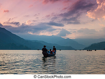 Lake in the Pokhara at sunset