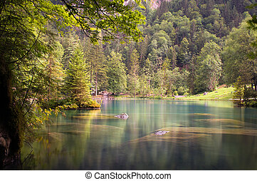 A beautiful calm lake in the woods in Switzerland.