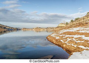 lake in winter scenery at Colorado foothills - Horsetooth Reservoir near Fort Collins