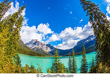 Lake in Yoho Park, Rocky Mountains - Magic Emerald Lake in...