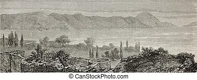 Lake Iznik - Old illustration of Lake Iznik (Ascanius), in...