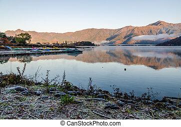 Lake Kawaguchi at the sunrise, Kawaguchi-ko, Japan