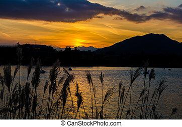 Lake Kawaguchi at the sunset, Kawaguchi-ko, Japan
