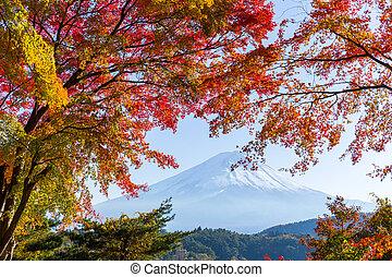 Lake kawaguchiko and Mt.Fuji in autumn