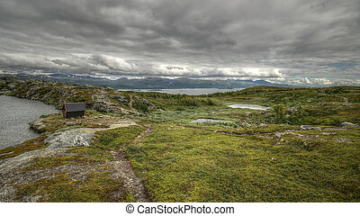 Lake Kratersjon and lake Tornetrask near Bjorkliden in Swedish Lapland.