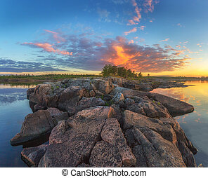 Lake Ladoga, Karelia, Russia - the eruption of the volcano...
