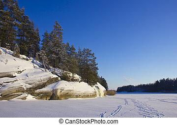 Lake Ladoga, Karelia, Russia - view of the winter lake...