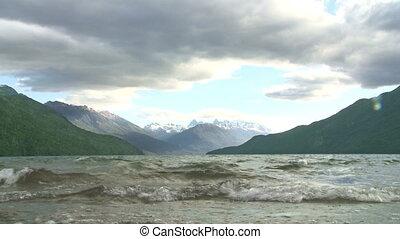 """Lake """"Lago Puelo"""" in Argentina - View of mountain lake """"Lago..."""