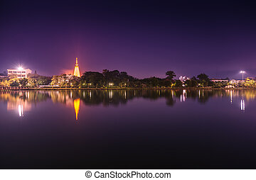 Lake landscape at night.