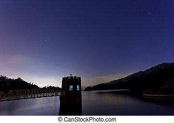 Lake landscape at night