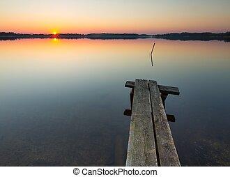 Lake landscape at sunset