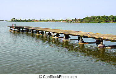 old wooden pier on Palic lake in Serbia