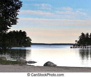 Lake Landscape - landscape of a lake at dusk