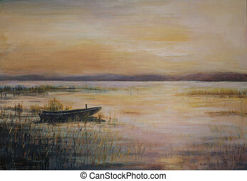 Lake - Landscape with boat on the lake during twilight. ...