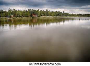 Lake landscape with copy space.