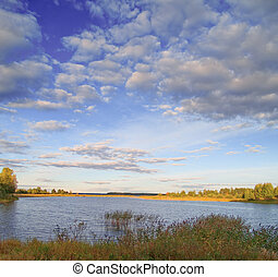 Beautiful landscape with a lake and wonderful sky. Captured on a Seliger Lake in Russia