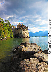 Lake Leman in fine weather. The beginning of autumn in...