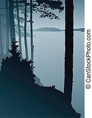 Silhouette of a misty view across a northern lake.