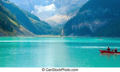 Lake Louise canoeing - Floating on the lake Louise canoes,...