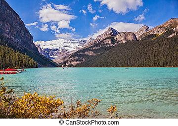 Lake Louise on a beautiful sunny day