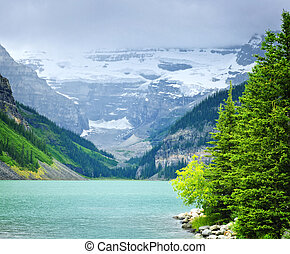 Lake Louise with mountains