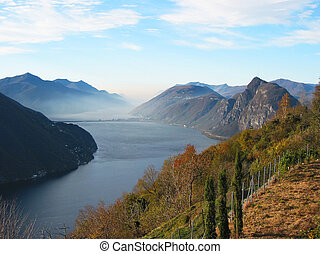Lake Lugano from the top of Monte Bre