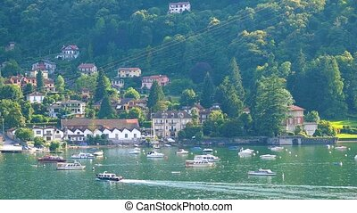 Lake Maggiore bay, summer. - Lake Maggiore bay summer. Town...