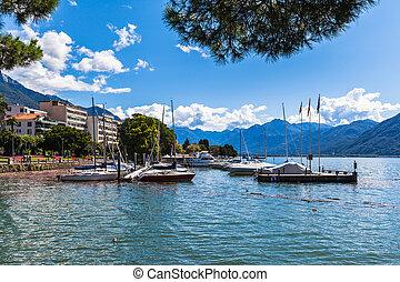 View on the side Maggiore Lake, Locarno, Ticino, Switzerland