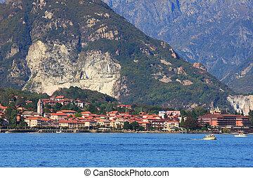 Lake Maggiore. Northern Italy. - Small town on lake Maggiore...