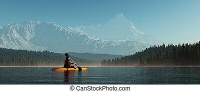 lake., mann, kanu