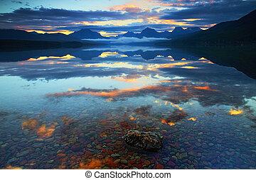 Lake McDonald in Glacier National Park, Montana, USA at sunrise.