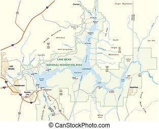 Lake Mead vector map, Nevada, Arizona, United States.