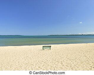 lake Michigan beach with bench