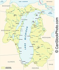 lake michigan drainage basin vector map