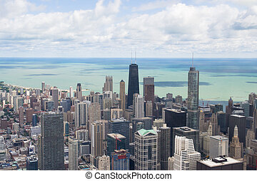 lake michigan panorama from chicago tower