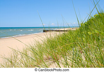 Lake Michigan Shoreline - The shoreline breakers of Lake...