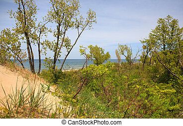 Lake Michigan View from the top of the dune at Jean Klock ...