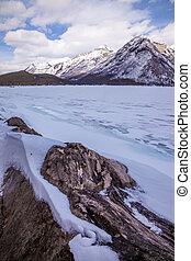 Lake Minnewanka in the winter near Banff, Alberta
