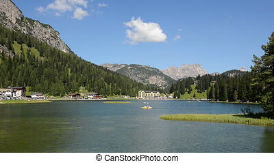 Lake Misurina - Relaxing landscape with pedal boats