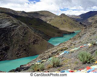 lake., montaña, tibet