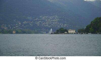lake., montagne, como, vue