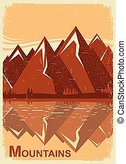 lake., montagne, vieux, paysage, vecteur, affiche