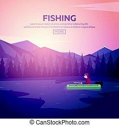lake., montanha, montanhas., pôr do sol, pesca
