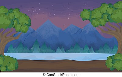 lake., montanhas, paisagem